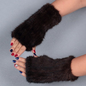 Hand Knitted Elastic Genuine Mink Fur Gloves For Women Fashion Real Fur Mittens without Fingers Thickness Winter Mitts