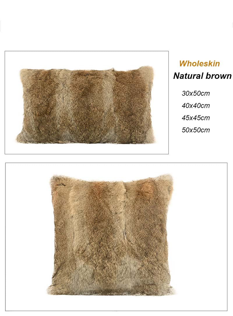 Natural Rabbit Skin Pillow Case Genuine Rabbit Fur Pillow Fur Cushion Fur Pilllow Cover Factory OEM