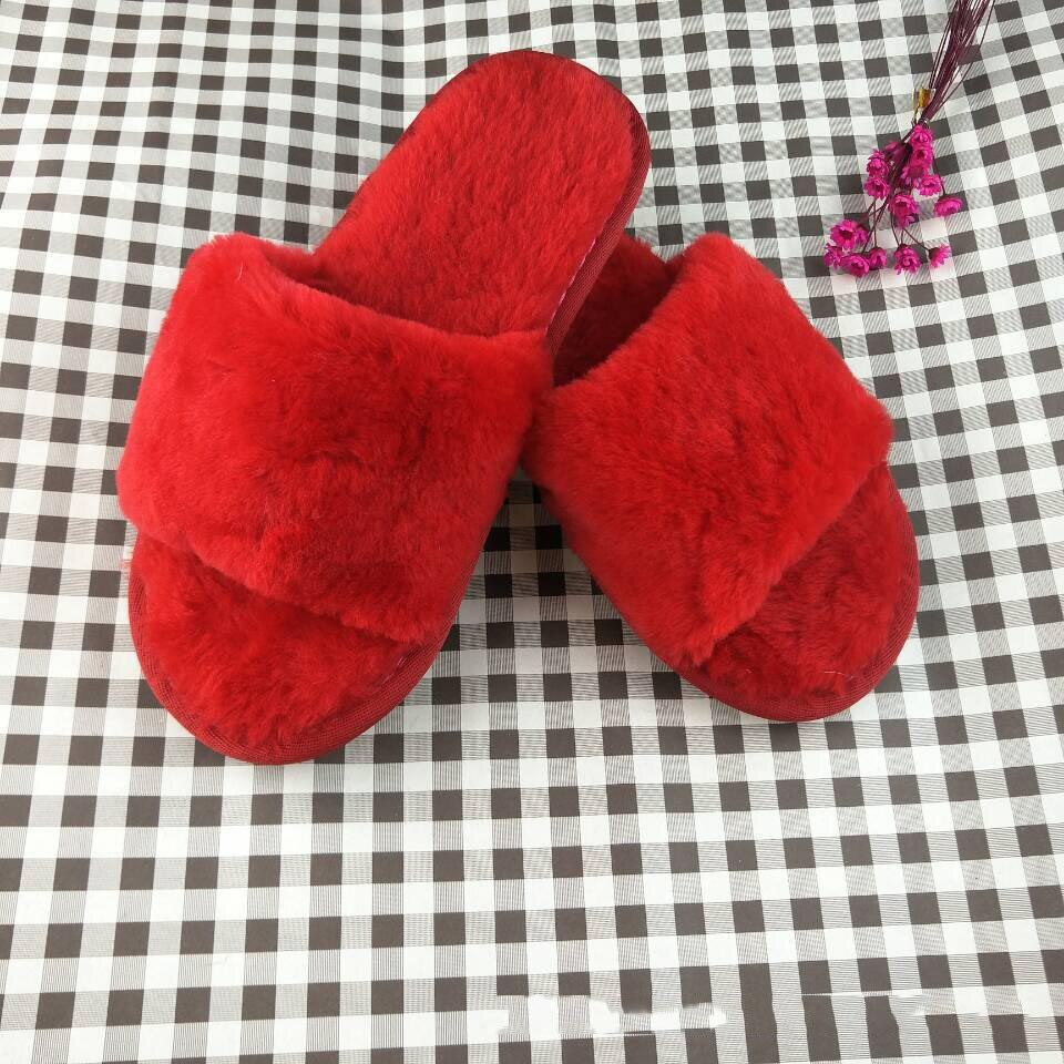 Women Slipper Sheepskin Warm Winter Natural Fur Slipper Girls Home Slipper Soft Sheep Fur Sandals Indoor Slipper