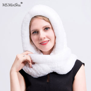 Real Fur Hat with Scarf Women Winter Cap Real Rex Rabbit Fur Hooded Scarf Lady's Winter Hat Head Warmer Fur Cap Scarf