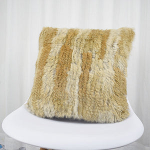 Natural Fur Pillow Case Handknitted Real Rabbit Fur Pillow Cover Fur Cushion Cover Home Decoration