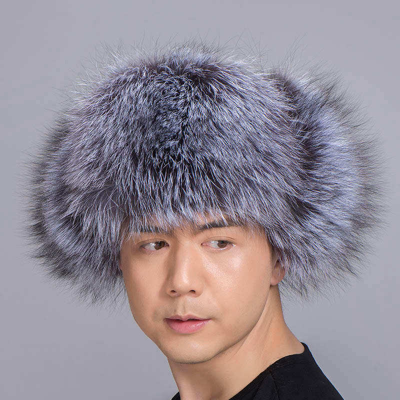 Silver Fox Fur Hat with Sheepskin leather Outer shell Russian Fur Hat Unisex Winter Earflap Natural Fox Fur Cap