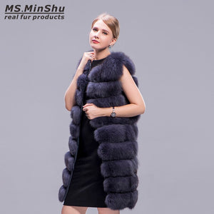 Ms.MinShu Real Fox Fur Coat Long 90cm Thick Fur Vest Sleeveless Outwear Fox Fur Vest Fashion Winter Coat Natural Real Fur Coat
