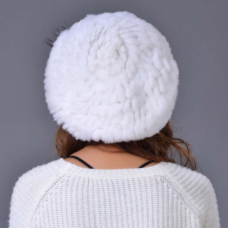 Genuine Rex Rabbit Fur Hat Hand Knitted Lady Winter Rabbit Fur 100% Real Fur Caps for Women Winter Beanies