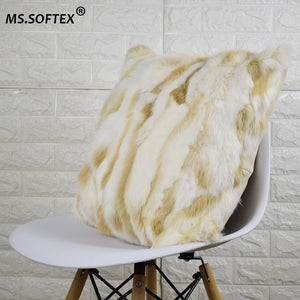 Natural Fur Pillow Case Patchwork Real Rabbit Fur Pillow Cover Soft Plush Cushion Cover Home Decoration
