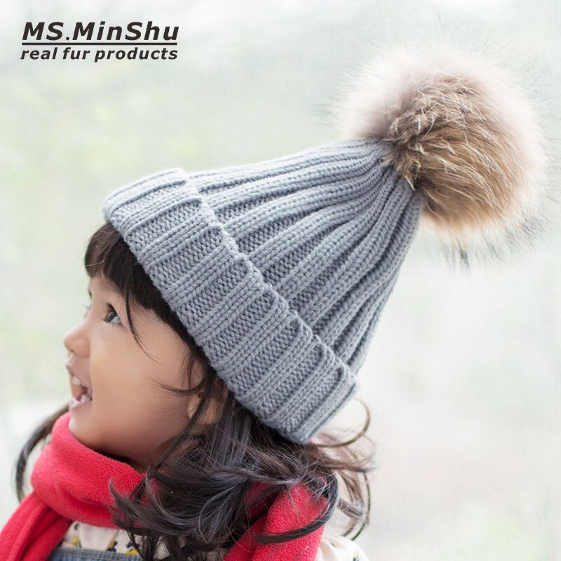 Thick Skullcap Children Beanie Hat with Real Raccoon Fur Pompom Raccoon Fox Fur Ball Knit Child Kids Fur Bobble Hat