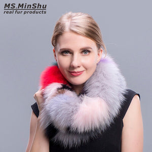 Fashion Colorful Fox Fur Scarf Multi colors Fashion Fox Fur Collar Winter Fox Fur Neck Warmer Female Fur Scarves