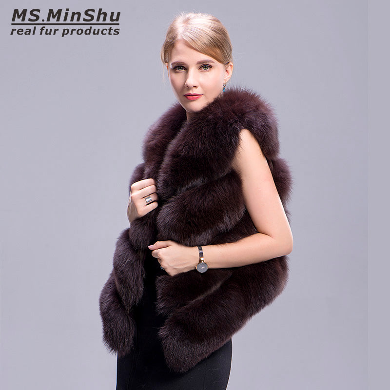 Women Waistcoat 100% Real Fox Fur Vest Chocolate Color Fashion Winter Coat Natural Real Fur Vest Sleeveless Outwear