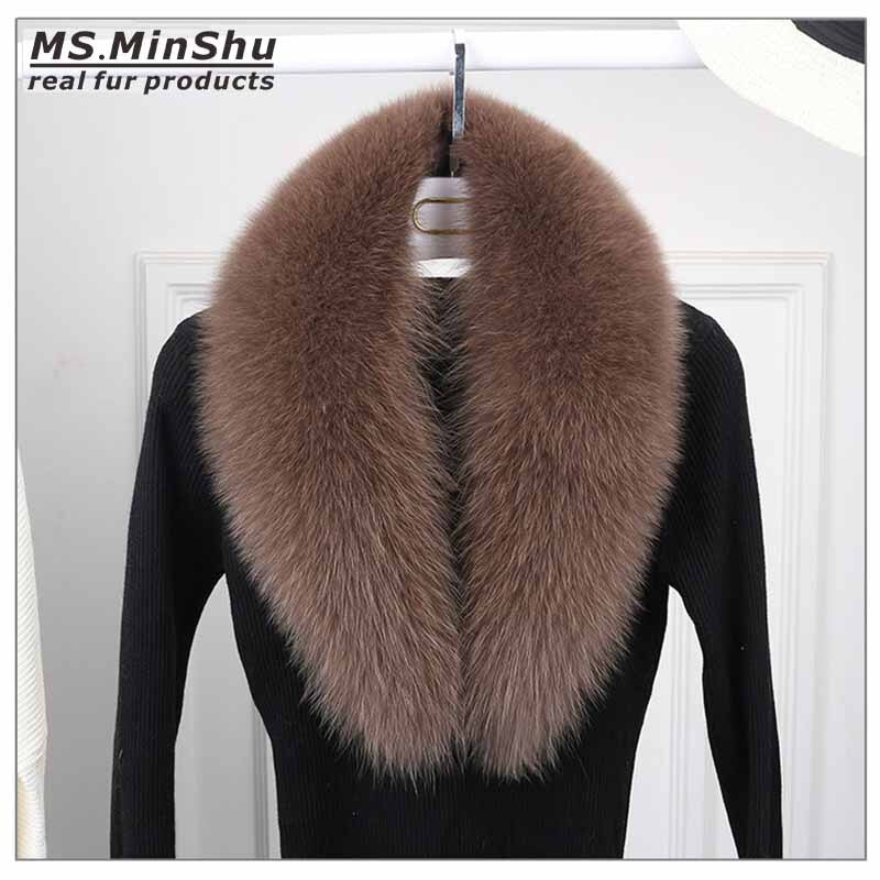 Long Fox Fur Collar Scarf Detachable Genuine Fox Fur Scarf Winter Woman Fox Fur Scarf Fashion Fur Shawl Female