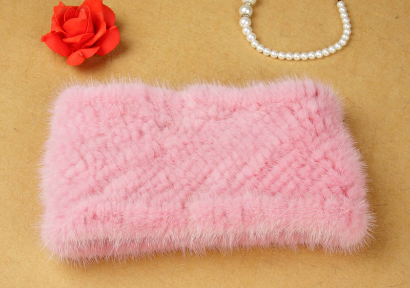 Knit mink Fur Headband Real Fur Neck warmer Winter Women Head wear Ear Warmer Neck ring Elastic style