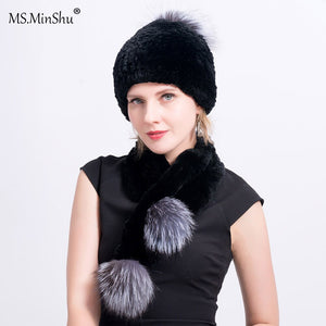 Thicken Real Fur Hat Hand knitted Rex Rabbit Fur Hat with Pompoms Elastic Fur Hat for Women Winter Cap Head warmer