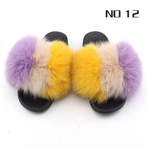 Furry Indoor Flip Flops Natural Fox Fur Slipper Thicker Luxury Fluffy Fur Slipper Plush Fur Shoes