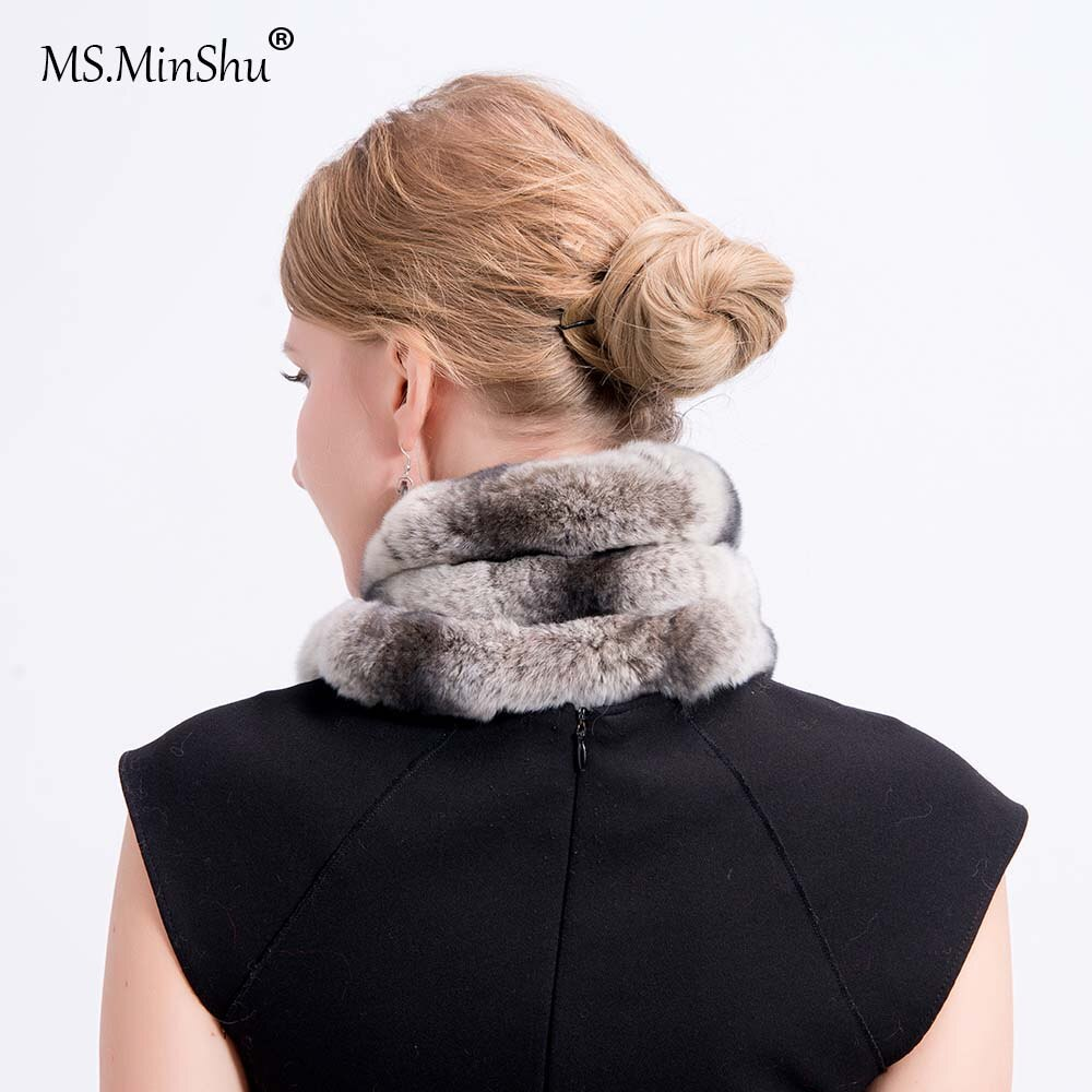 Rex Rabbit Fur Scarf Chinchilla Design Rex Rabbit Fur Scarf Thicken Winter Neck Warmer Fashion Woman Soft Fur Scarf