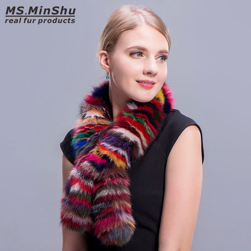 Fashion Colorful Fox Fur Scarf Multicolor Fashion Fox Fur Collar Winter Fox Fur Neck Warmer Female Fur Scarves