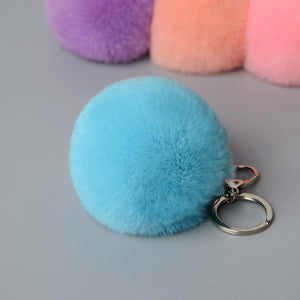 Rex Rabbit Fur Pompoms Charm Genuine Rabbit Fur Ball Keyring Natural Fur Ball Keychains Fur Charm Promotion