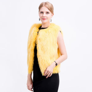 Women Genuine Fox Fur Waistcoat Hand Knitted Fox Fur Vest Lightly Real Fur Vest Gilet Fox fur jacket with lining