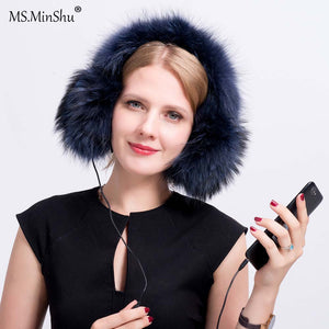 Genuine Raccoon Fur Earmuff Headphone Winter ear warmer with audio Fashion Fox Fur Earmuff Thick fur Ear Cover Warmer