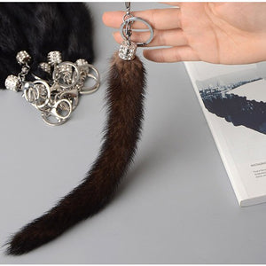 Mink Fur Keychain Mink Tail Keychain Real Mink fur Bag Charm Natural Fur Toy genuine Natural Fur Keyring