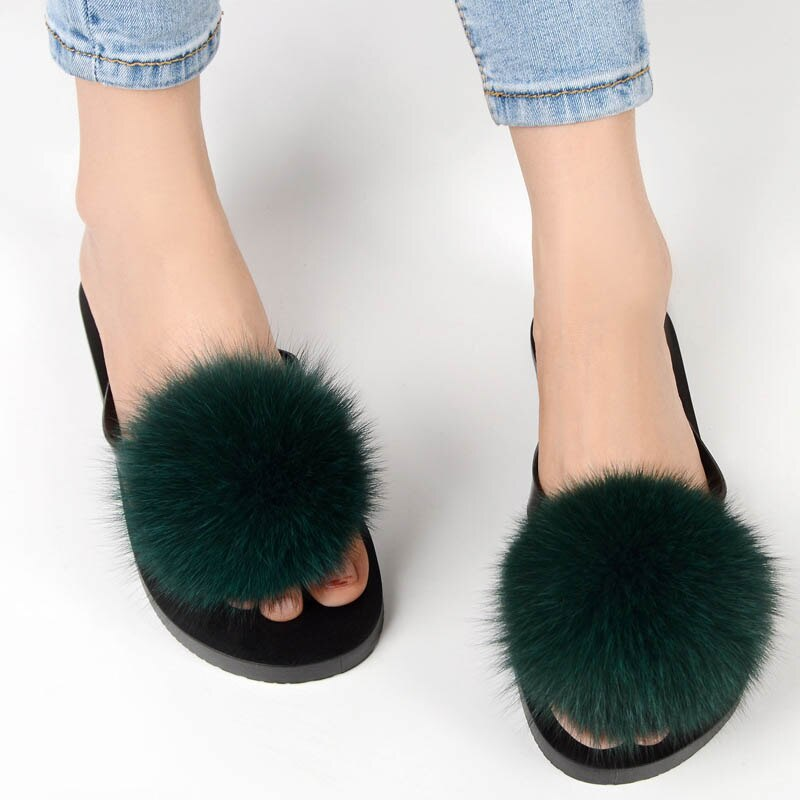 Flip Flop with Fox Fur Pompoms Women Flat Slippers Fox Fur Balls  Girls Flat Slipper with Plush Fur Casual sandals