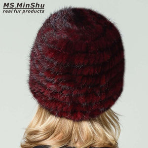 Women Beanies Caps Genuine Mink Fur Hat Winter Fashion Female Real Mink Fur Hat Hand Knitted with Fur Flowers