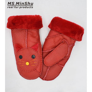 Women Gloves Sheepskin Fur Mittens Adult Leather Gloves Winter Gloves 100% Genuine Sheepskin Fur Mitts Girls Gloves