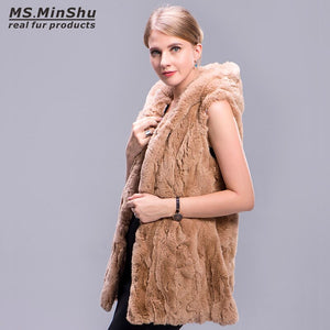 Natural Rabbit Fur Vest Black Women Fur Coat Sleeveless Casual Hooded Thick Fur Outwear Long Rex Rabbit Fur Waistcoat