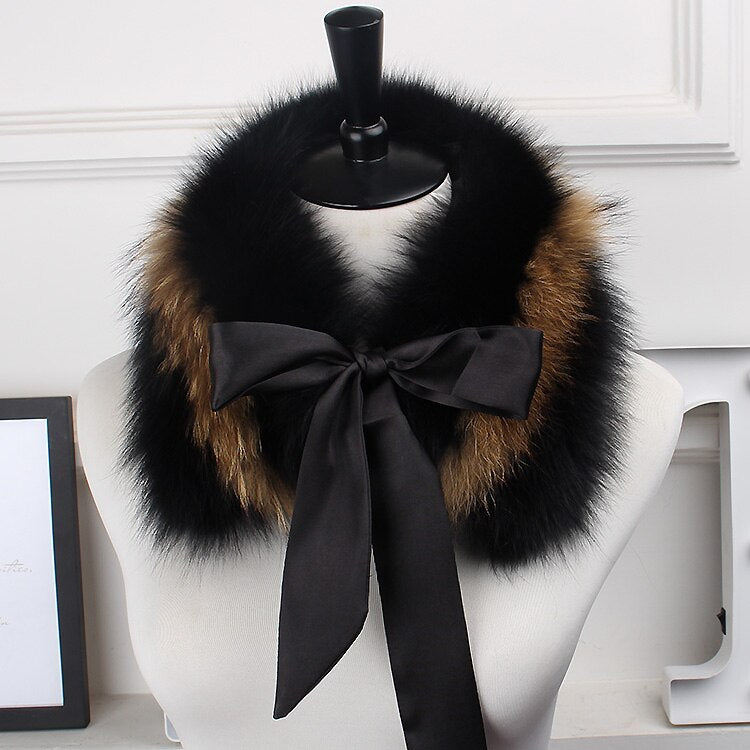 Genuine Fox Fur Collar Scarf with Lace 100% Natural Fox Fur Scarf Winter Neck Warmer Jacket Fur Collar Short Scarves