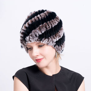 Real Rex Rabbit Fur Winter Female Hat Winter Warm Women Cap Hand Knitted Thickness Cap for Winter Rabbit Fur Hat