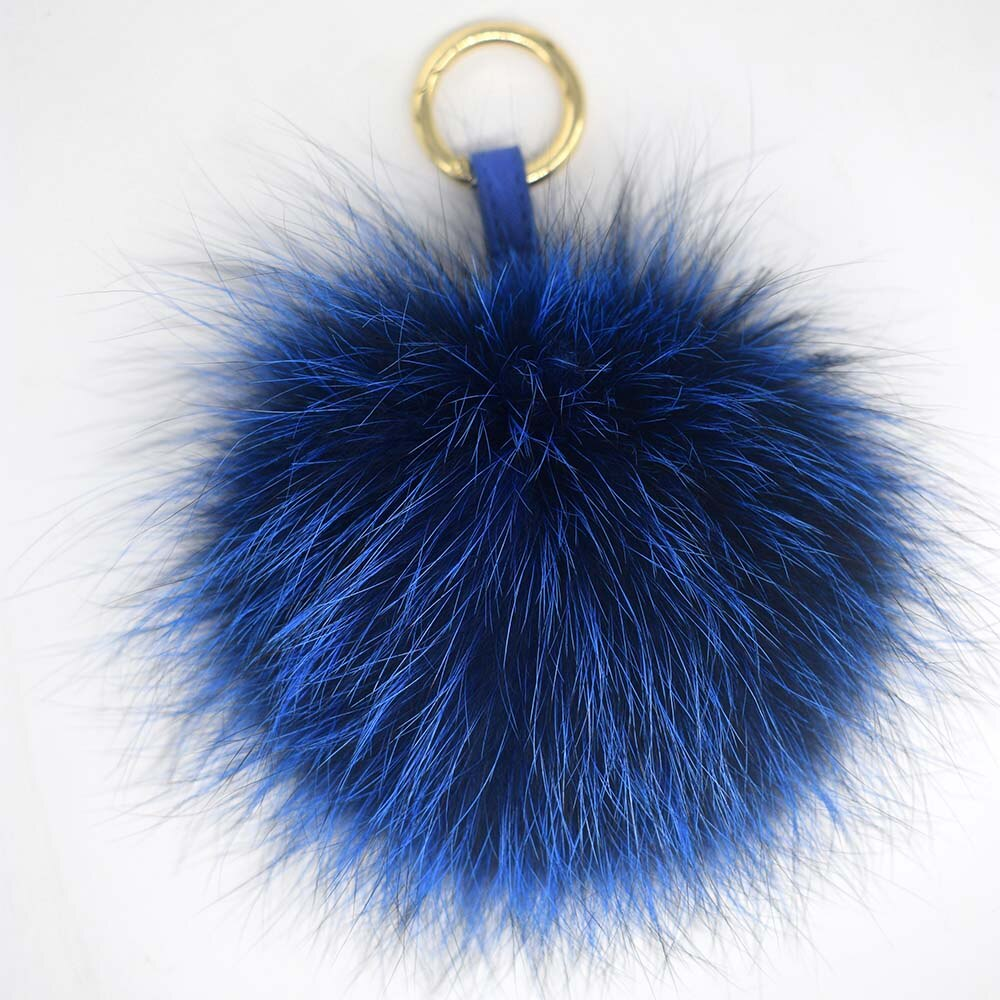 Genuine Fox Fur Pompom Charm Big Fox Fur Ball Keyring Natural Fur Pom pom Bag Charm Plush Fur Pompom Charm