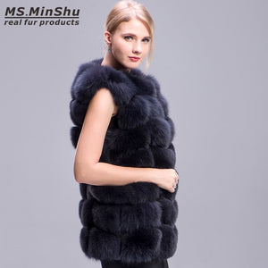 Real Fox Fur Coat 70cm Style Thick Fur Vest Sleeveless Outwear Fox Fur Vest Fashion Winter Coat Natural Real Fur Coat