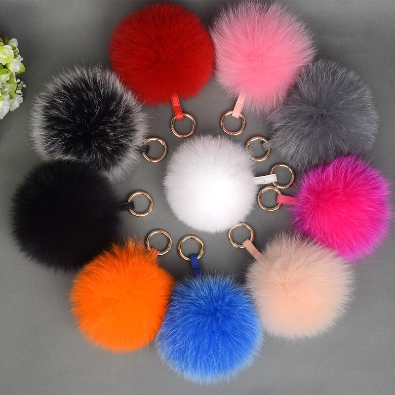 Fox Fur Pompoms Keychain Natural Fur Ball Keychains Genuine Fox Fur Charm For Bag Pendant