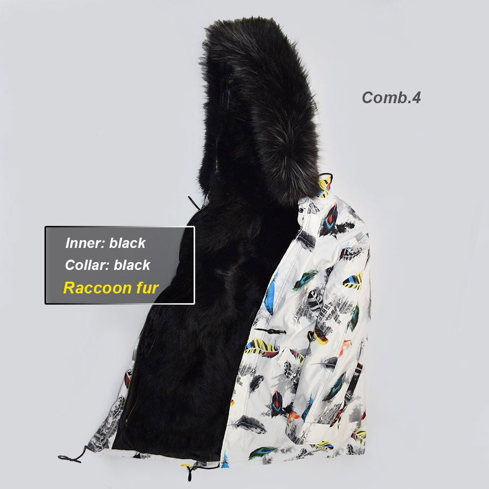 Thicker Parkas Women Raccoon Fur Liner Big Fur Collar Detachable liner Genuine Raccoon Fur Coat Real Fur Outwear