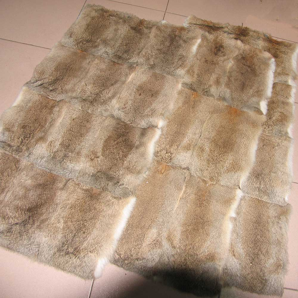 Natural Rabbit Fur Blanket Bedroom Real Rabbit Fur Throw Factory OEM Luxury Fur Blanket Throw Plush Fur Blanket