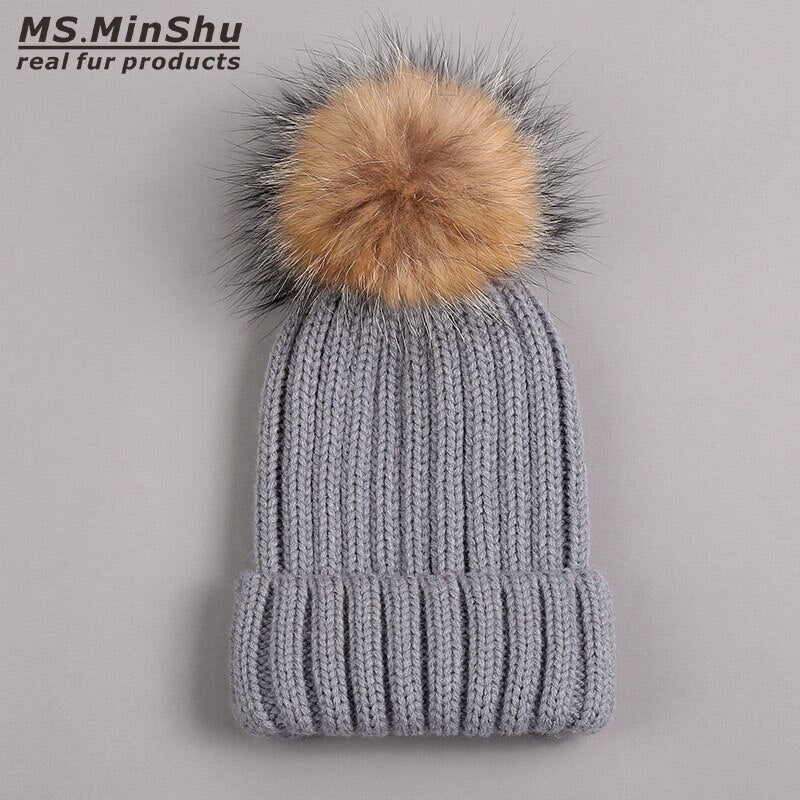 Thicken Winter Adult Hat with Real Fur Pompom Raccoon Fox Fur Ball Cap Women Hat with Big Fur Ball Unisex Fur Pompom Top Hat