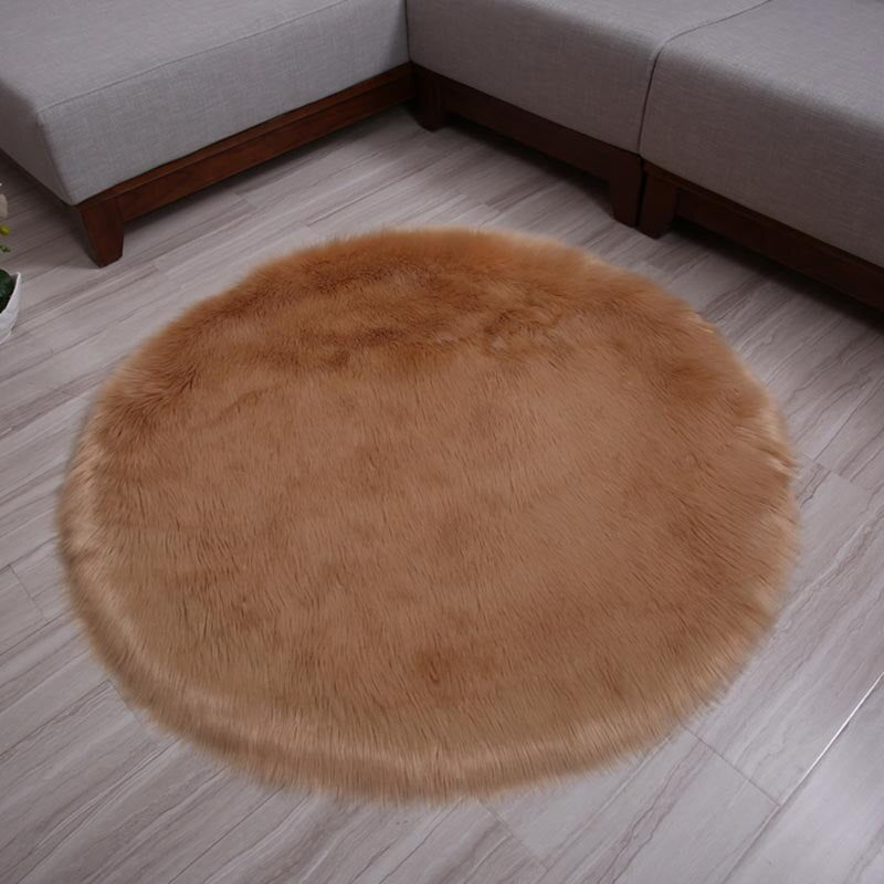Faux Sheepskin Cushion Rugs Plush Fur cushion in round shape Bedroom Decrative Artificial Fur Cushion Thick Fur Rugs