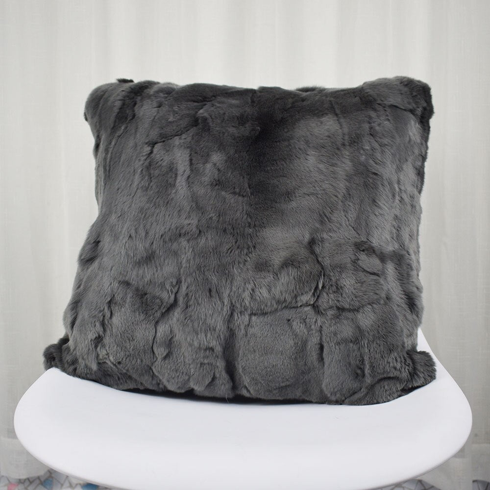 Rex Rabbit Fur Pillowcase Patchwork Real Rabbit Skin Pillow Cushion Soft Cushion Cover Genuine Fur homes