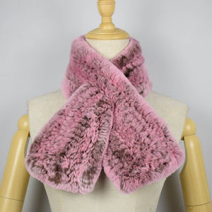 Rex Rabbit Fur Scarf Hand Knitted Short Style Real Fur Fur Scarf Fashion Women Collar Scarf Winter Fur Scarves