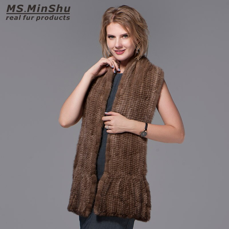 Natural Mink Fur Scarf Hand Knitted Long Mink Fur Scarf Woman Winter Scarf Wrap Genuine Mink Fur Shawl Female