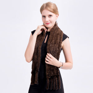 Unisex Hand Knitted Mink Fur Scarf Genuine Mink Fur Neck Warmer Fashion Scarf with Fringes Winter Real Fur Scarf