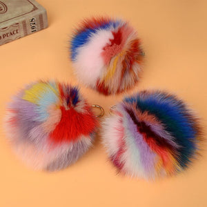 Fur Pompom Charm 15cm Natural Fox Fur Ball Keychains Genuine Fox Fur Bag Charm Big Fluffy Pompom Fur Charm