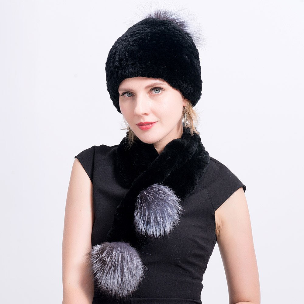 Real Rex Rabbit Fur Scarf with Silver Fox Pompoms Knit Fur Scarf With Fox Fur Balls Winter Hat & Scarf