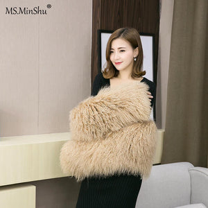 Mongolian Lamb Fur Stole Real Fur Wrap with Sleeves Women Poncho Fashion Tibet Lamb Fur Big Scarf