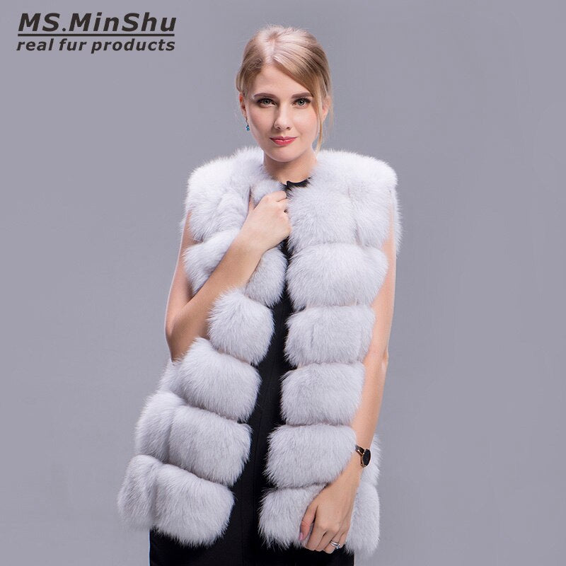 Natural Color Fox Fur Waistcoat 100% Real Fox Fur Vest Fashion Winter Coat Natural Real Fur Coat Sleeveless Outwear