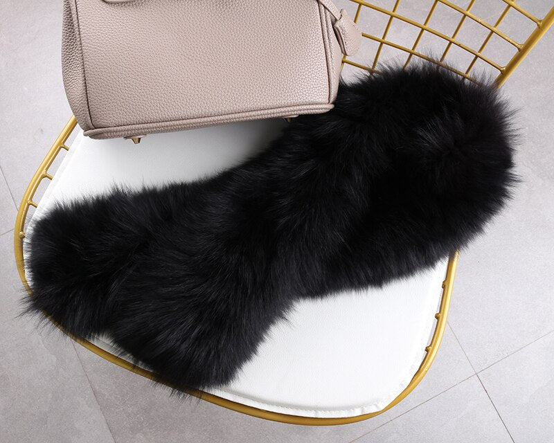 Real Fur Scarf Winter Knit Fox Fur Scarf Soft Plush Fox Fur Scarf  Long Hair Both sides with Fox Fur Free ship