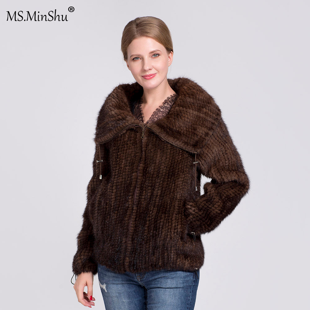Knitted Mink Fur Jacket Turned Down Collar Winter Coat Natural Mink Fur Jacket Real Mink Fur Coat real fur coats for women