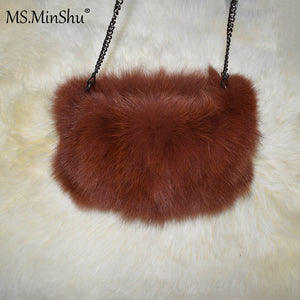 Real Fox Fur Hand Muff Bag Winter Hand Warmer Real Fur Muff Fashion Woman Pocket Handmuff With Chain