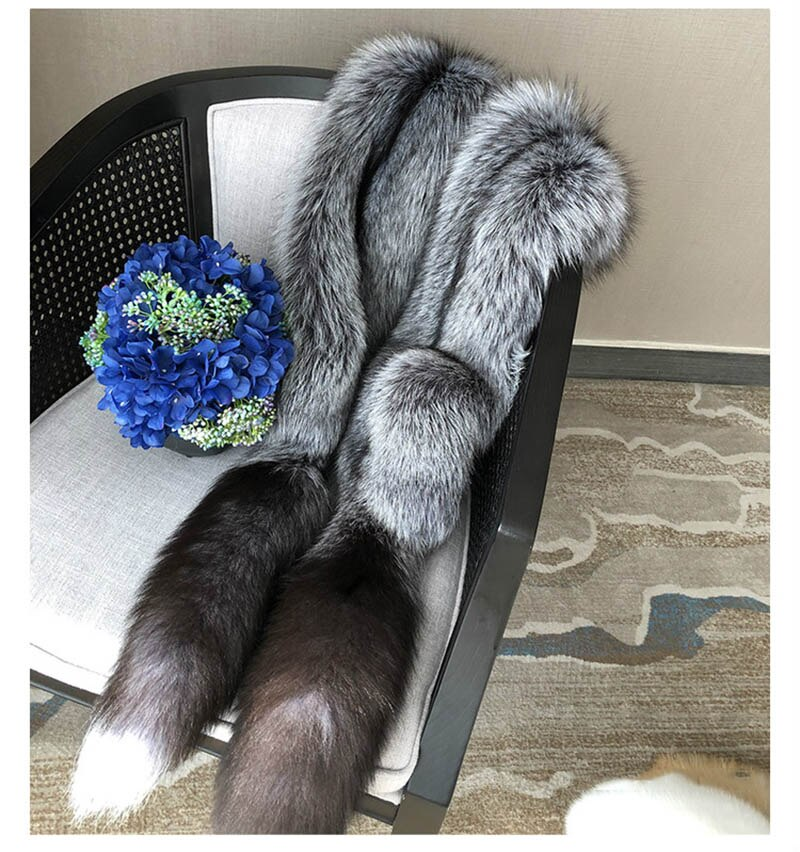 Long Fox Fur Shawl Luxury Genuine Fox Skin Shawl Whole Fox skin Stole with Tails Natural Fox fur Scarf