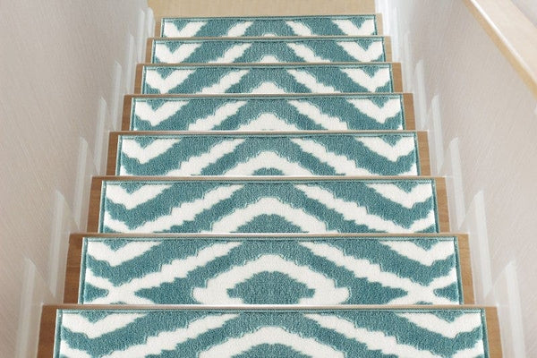 Meadow Teal Soft Stair Treads, Pack of 13 with Double Sided Tape