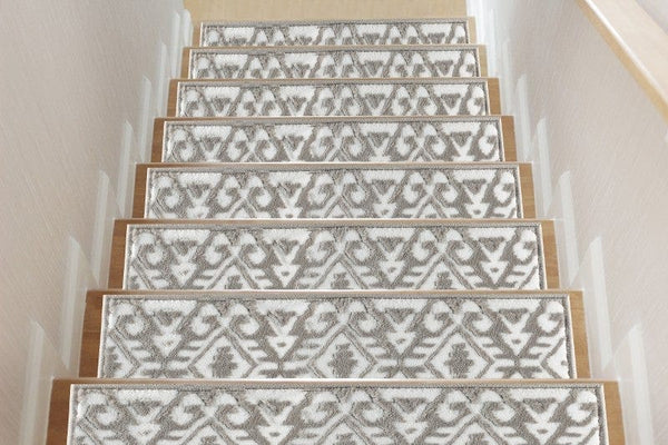 Aztec Gray- White Soft Stair Treads,Pack of 13 with double sided tape