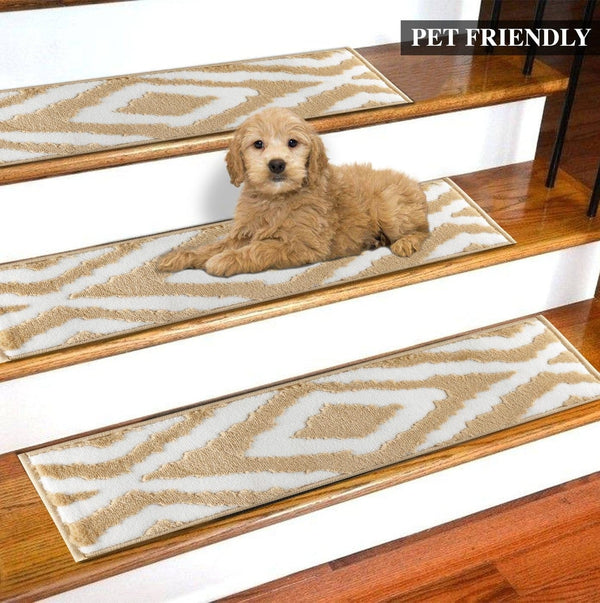 Meadow Beige Soft Stair Treads, Pack of 13 with Double Sided Tape